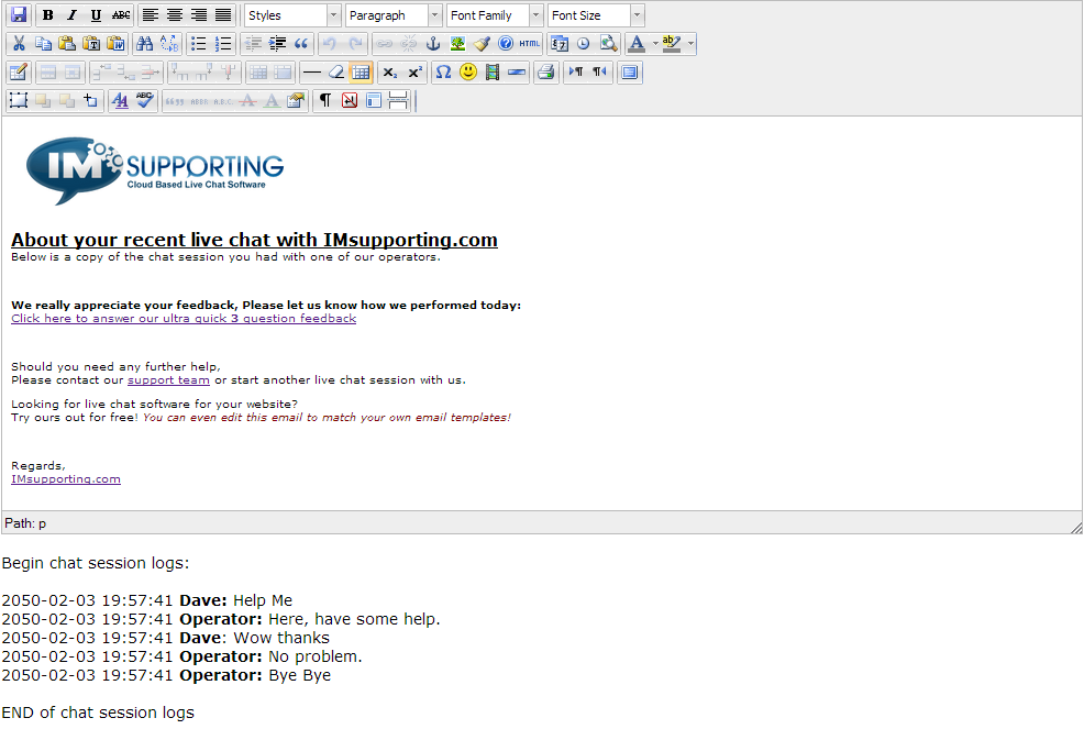 live chat email transcript