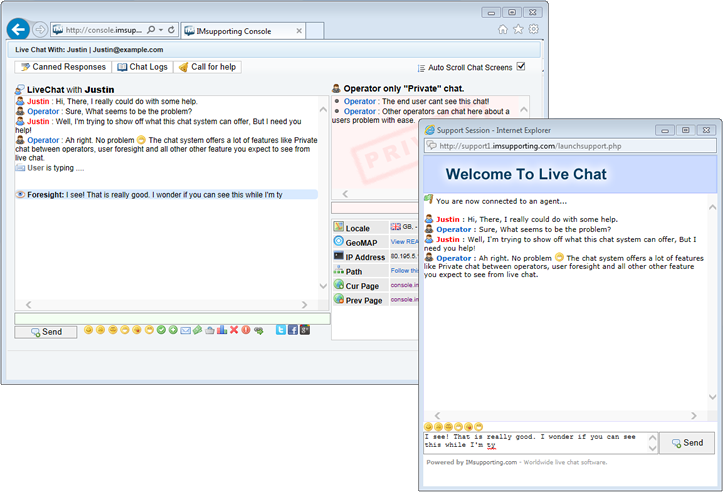 Chat windows in action
